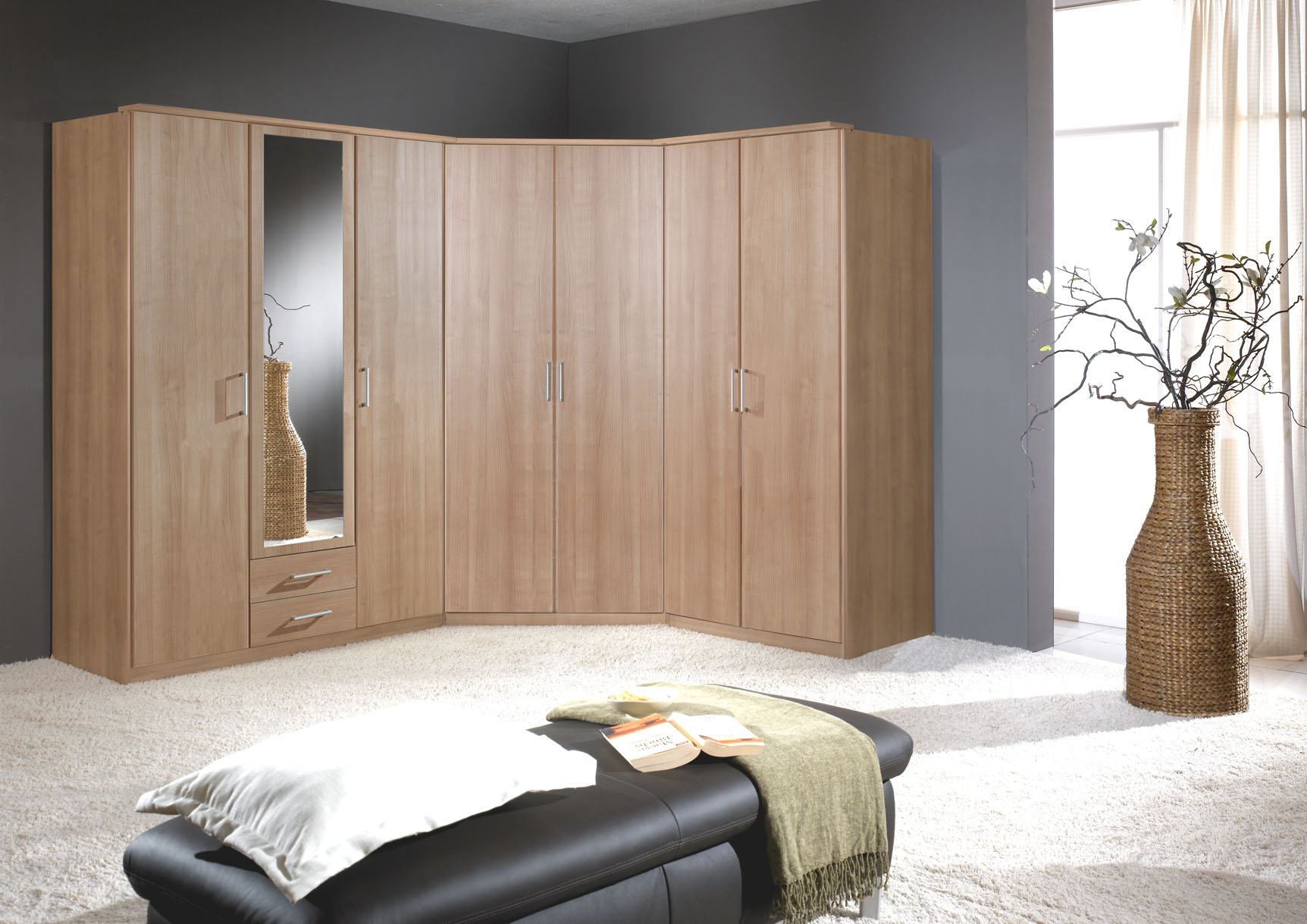 Genoa Oak Effect 2 Door German Corner Wardrobe 112511